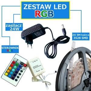 ZESTAW 10M Taśma 150 RGB LED IP20 + zasilacz + sterownik + pilot