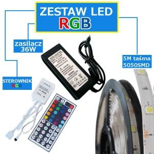 ZESTAW 5M Taśma 150 RGB 5050 LED IP20 + zasilacz + sterownik + pilot