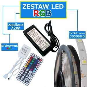 ZESTAW 10M Taśma 300 RGB 5050 LED IP20 + zasilacz + sterownik + pilot